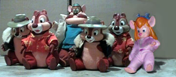 "Six Applause stuffed toy variations: ""old"" Chip, ""old"" Dale, ""new"" Monty, ""new"" Chip, ""new"" Dale, ""new"" Gadget."